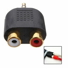 Gold Plated Stereo Audio Male Plug to 2 RCA Female Jack Splitter 3.5mm Adapter Y