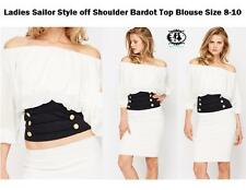 Ladies SAILOR COLD OFF SHOULDER BARDOT BLOUSE TOP SIZE 8 WHITE SUMMER SHIRT VTG