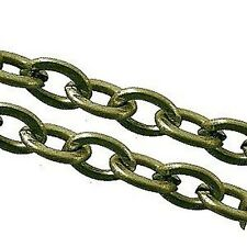 2 meters Bronze Plated Flat Crossed Chain - 3x4mmx0.7mm - A5462