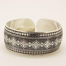 Gypsy Flower Tibetan Silver Cuff Bangle Bracelet Boho Bohemian Hippie Jewelry