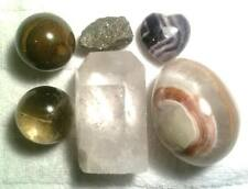 6 Beautiful Stones - Crystal Point , Pyrite, Tiger's Eye,  Hematite, Onyx Egg