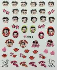 Nail Art 3D Decal Stickers Betty Boop Hearts Dog Kisses Valentine's Day K066
