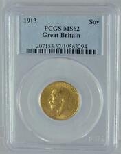 1913 Gold Sovereign Coin PCGS MS62 King George V Great Britain London