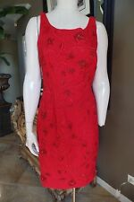 CARMEN MARC VALVO Red Beaded Embroidered Cocktail  Sheath Dress 10