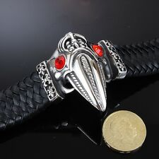 MONSTER SIZE - REAL Leather 316L Stainless Steel Bracelet Men Skull Goth Alien 5