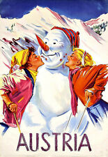 Austria Winter Skiing  Ski Happy Snowman   Travel Poster Print