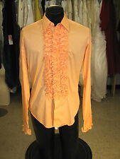 BOY VINTAGE RUFFLED TUXEDO SHIRT SHRIMP (ORANGE) SMALL (BS)