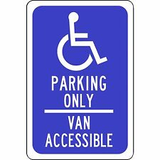 "Handicap Parking Only Aluminum Metal Blue Sign 8"" X 12"" Van Accessible"
