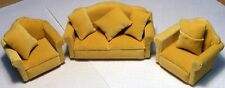 1:12 Scale 3 Piece Beige Sofa - Settee & Chairs Suite Dolls House Miniature 924