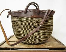 VINTAGE Woven Jute Canvas & Tooled Brown Leather Market Tote Bag Shoulder Purse