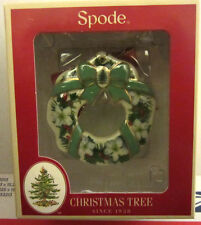 NEW Spode Christmas Tree WREATH FLOWERS & RIBBONS Christmas Ornament ~NIB!