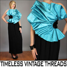 vtg 80s AFTER FIVE One Shoulder AVANT GARDE Sequin ORIGAMI Dress Prom GOWN XS-S