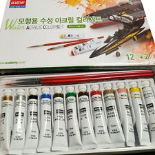 Academy Water Acrylic Painting 12 Color Set Brushes 2EA Plastic Model Kit #15924