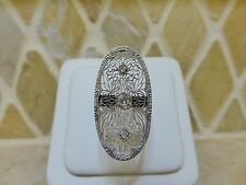 Antique Art Deco platinum 18k white gold diamond filigree oblong cocktail ring