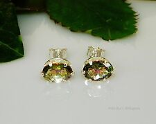 8x6 Oval Mango Mystic Topaz Sterling Silver Earrings 3.05cts