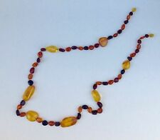 Natural Handmade Long Baltic Amber Pebbles Knotted Necklace 37g