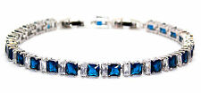 Silver Blue Sapphire And White Topaz 11ct Adjustable Tennis Bracelet