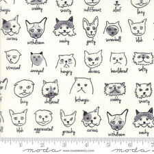 Meow or Never Cats on milk cotton print Erin Michael By the yard Moda FABRIC