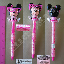 New Authentic Original Disney Pink Minnie Mouse Nerd Glasses Figurine Pen - Gift