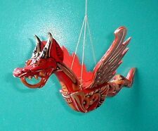 "Dragon Flying Hanging Sm 8"" made in Bali wood RED OR GREEN Naga"