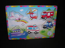 Garanimals Vehicles Wooden Puzzle Helicopter, Ambulance, Boat, Police Car