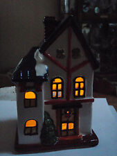 Porcelaine Chapel dressed for Christmas Lamp