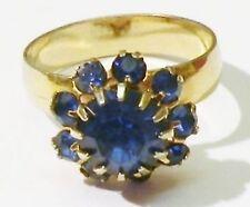 bague bijou vintage couleur or cristaux facette bleu saphir réglable ring * 3977