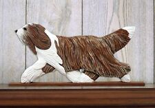 Bearded Collie Figurine Plaque Display Wall Decoration Brown