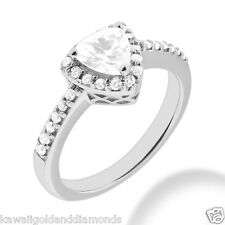 .30ct Halo trillion shape 14k white gold engagement ring semi mount 6x6x6mm