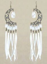 F2855F White Feather Earrings Moon Lovely Beads Chandelier Handmade Eardrop