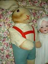 "Vintage 30"" l'bd Germany US Zone c1945 hard-stuffed bunny rabbit doll figure toy"