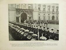 1896 VICTORIAN LONDON PRINT + TEXT ~ ESCORT OF PRINCES LEAVING BUCKINGHAM PALACE