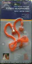 Auriculares Estéreo Un Metro De Cable 3.5 mm Jack Orange Sport Mp3 Personal Cd Radio