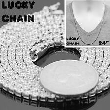 "925 STERLING SILVER ICED OUT TENNIS CHAIN NECKLACE 24""x3mm 29g PC37"