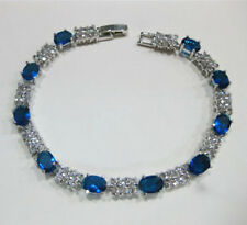 Fascinating Vogue style jewelry 18k white gold sapphire gem bracelet 8 inch.+box