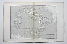 1805 arrowsmith carte antique Italie SICILE SARDAIGNE du sud, gravé par S. hall