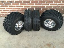 4 NEW KAWASAKI KFX400 KFX450 R Polished Aluminum Rims & Slasher Tires Wheels kit