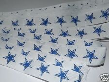"7/8"" White w/ Blue Star Print Ribbon, Hairbows, Dallas Cowboys, Patriotic, Craft"