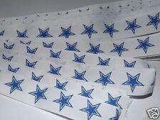 "7/8"" White w/ Blue Star Print Ribbon, Hairbows, Dallas Cowboys, Patriotic, Craft"