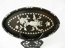 19th c Japanese Meiji Period Black Lacquered Oval Wooden Tray With M.O.P. Inlay
