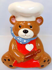 VINTAGE TEDDY BEAR WITH CHEF HAT & ROLLING PIN CERAMIC COOKIE JAR MADE IN JAPAN