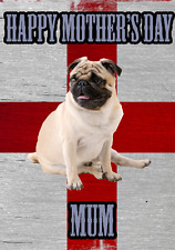 Pug St George Flag Happy Mother's Day Card chmd245 A5 Personalised Greetings