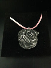 Pug Head Pewter Effect Animal 3D Pendant On Pink Cord Necklace Handmade