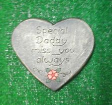 Daddy Memorial stone.plaque.heart.grave marker tear drop  gold