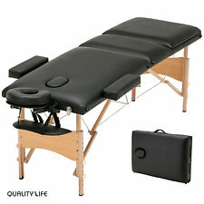 "Black 3 Fold 84""L Massage Table Portable Facial SPA Bed Tattoo w/Free Carry Case"