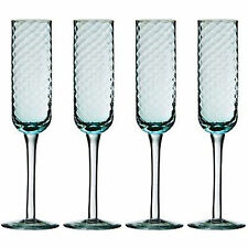 Set Of 4 Artic Blue Drinking Glasses Champagne Flute Wine Glass Drink Gift Box