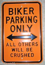 Harley Davidson Biker Parking Only Sign Advertising Porcelain Harley SignMancave