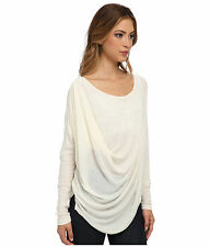 FREE PEOPLE WE THE FREE SIZE LARGE BUCKLEY PULLOVER IVORY COLOR DRAPE FRONT A523