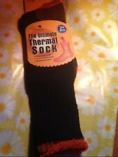 SOLE TRENDS ULTIMATE THERMAL SOCKS TOG 2.13 MAX HEAT THICK CUSHIONING BLK/ORANGE