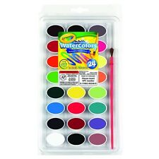 Crayola 53-0524 24 Ct. Washable Watercolor Pans With Plastic Handled Brush New